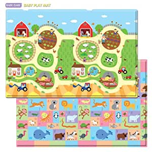 Amazon Com Baby Care Play Mat Busy Farm Large