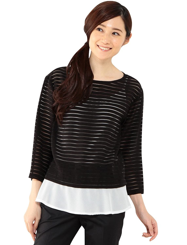 Amazon.co.jp: (プチオンフルール)Petit Honfleur ボーダー裾レイヤードブラウス: 服&ファッション小物通販