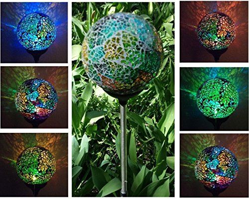 Solar Mosaic Colorful Crackle Glass Ball , Multi-Color Color Changing Led Light, Garden Stake Yard Led Light