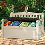 Outdoor Storage Bench, a Great Deck Box and a Wonderful Furniture Storage Bench 70 Gallon Capacity Bench Box. Durable Resin Will Not Rust or Peel.