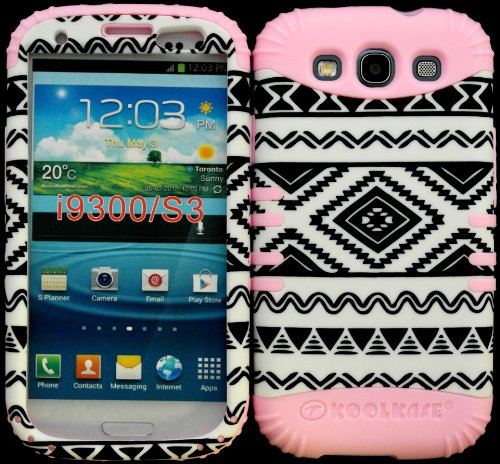 Hybrid Impact Rugged Cover Case Exclusive Black And White Tribal Aztec Pattern Hard Plastic Snap On Baby Pink Silicon Skin For Samsung Galaxy Slll S3 Fits Sprint L710, Verizon I535, At&T I747, T-Mobile T999, Us Cellular R530, Metro Pcs And All front-499475