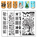 Ejiubas Stamping Plates Halloween Nail Stamping Kits Halloween & Christmas Image Nail Art Plates Manicure Tools Double-sided 2 Counts 4 Sides EJB-03&04 (Color: Christmas & Halloween Plates)