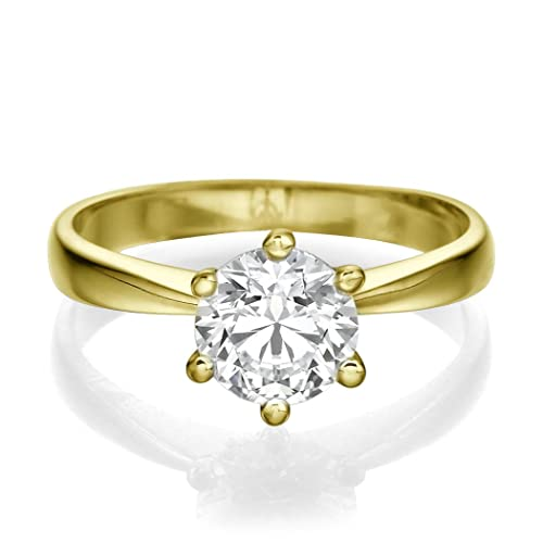 Diamond Engagement Ring Genuine 0.50 CT Round Cut Main Stone H-I/I1-I2 18ct Yellow Gold