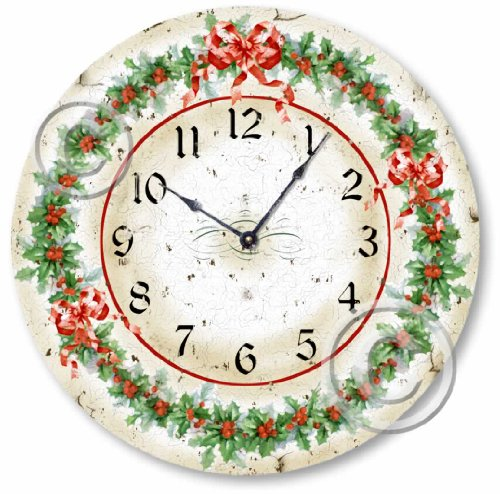Item C1408 Vintage Style Christmas Holly Clock
