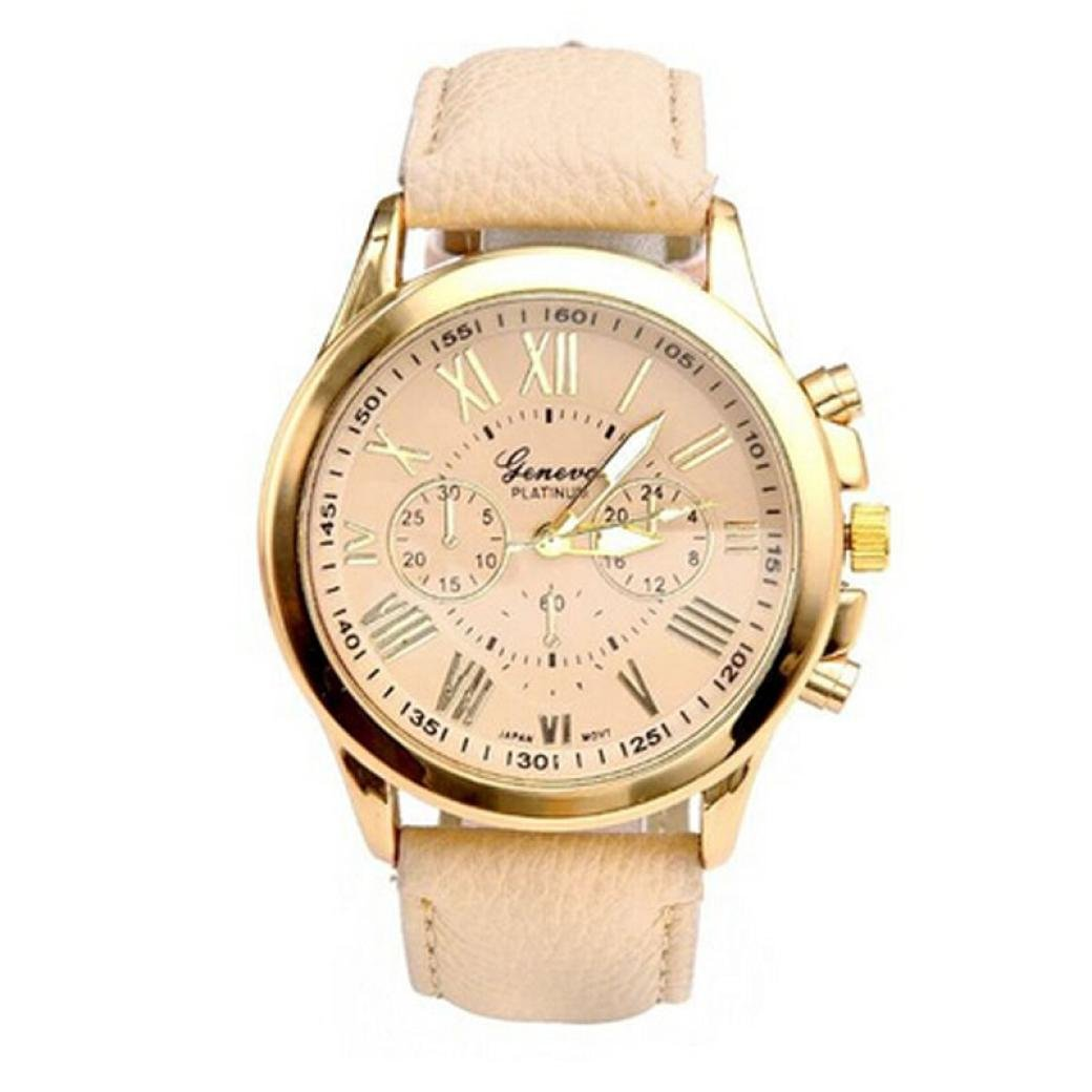 Tenworld Women Lady Girl Gift Analog Quartz Faux Leather Wrist Watch (Beige )