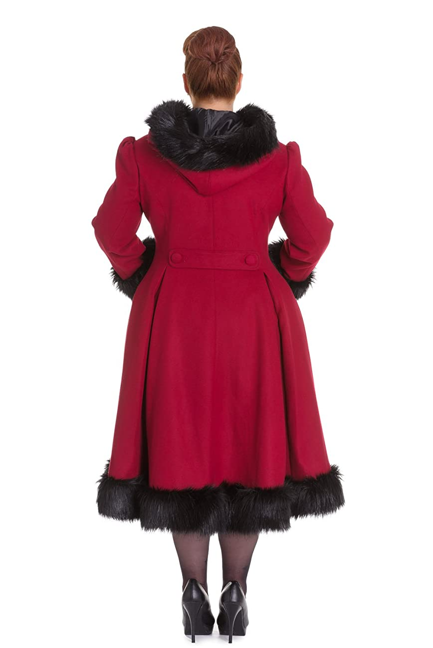 Hell Bunny Elvira Burgundy Long Hooded Vintage Fur Collar Winter Long Swing Coat 1