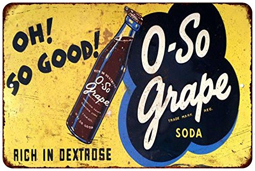 O-So Grape Soda Vintage Look Reproduction Metal Sign 8x12 8121956 (Grape Soda Sign compare prices)