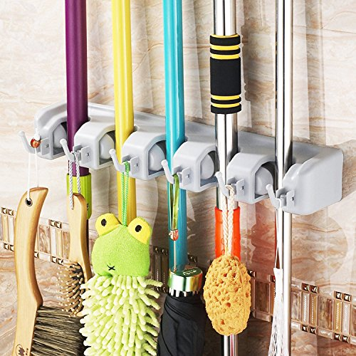 Mop and Broom Holder, 5 Non-slip Automatically Adjustable Positions with 6 Hooks, Wall and Closet Mounted Organizer, Brooms, Mops, Rakes, Garden Equipment, Sports Equipment Storage Organiser (Broom Holder Commercial compare prices)