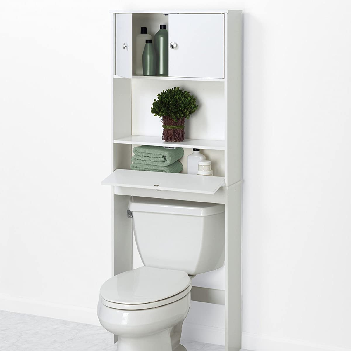 Zenna Home 9401W, Drop Door Bathroom Spacesaver, White