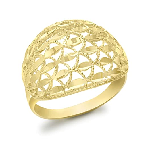 Carissima Gold 9ct Yellow Gold Diamond Cut Open Dome Ring - Size P