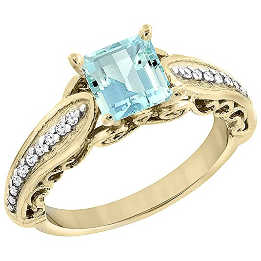 14ct Yellow Gold Natural Aquamarine Ring Square 8x8mm with Diamond Accents, sizes J - T