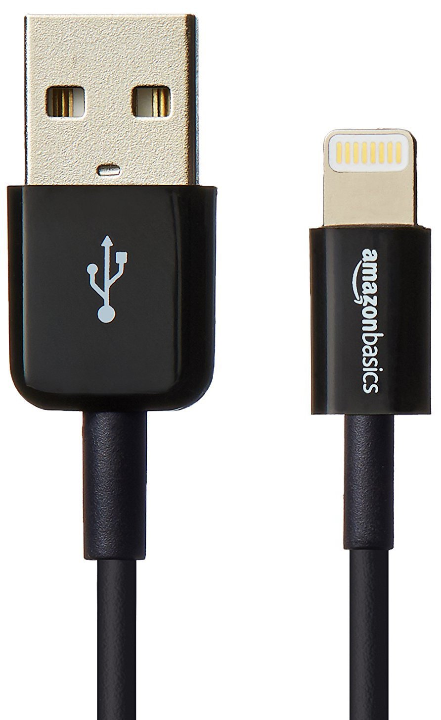 AmazonBasics Apple Certified Lightning to USB Cable 2-Pack - 3 Feet (0.9 Meters) - Black