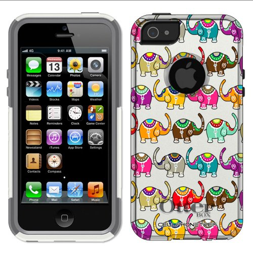 Great Sale Otterbox Commuter Series Colorful Elephant Pattern Hybrid Case for iPhone 5 & 5s