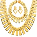 U7 African Jewelry Set 18K Gold Plated Chunky Chain Necklace Bracelet Earrings