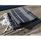 "Cacala 100% Cotton Pestemal Turkish Bath Towel, 37 x 70"", Black"