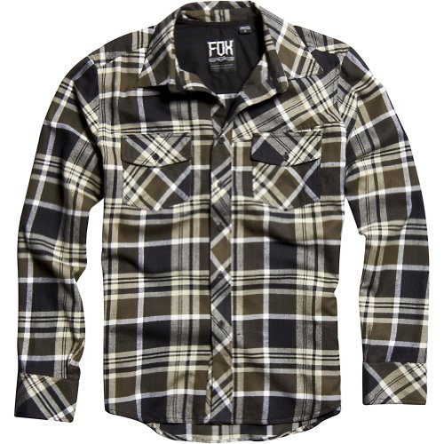Fox Racing Decker Flannel Youth Boys Long-Sleeve Casual Wear Shirt - Military / Large