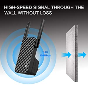 WiFi Range Extender - 300Mbps WiFi Repeater Wireless Signal Booster, N300 WiFi Booster, Simple Operation Network Extender