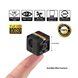 Crazepony Mini Camera SQ11 HD Camcorder 3.6mm Night Vision FOV140 1080P Sports Mini DV Video Recorder (Plastic Sheel) (Color: Black, Tamaño: 2.2*2.2*2.2 (cm))