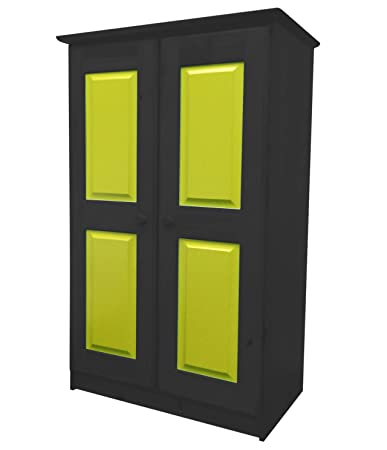 Design Vicenza Two Door Tall Boy Robe Children's Short Wardrobe in Graphite & Lime