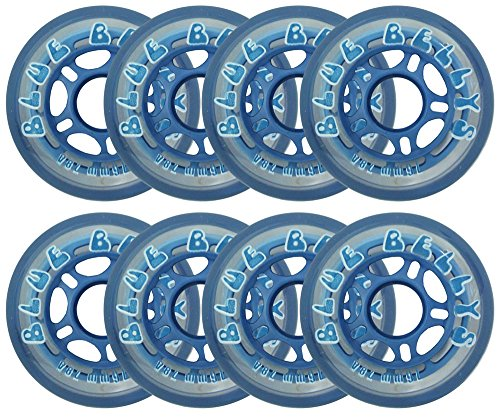 Blue Bellies 8 Inline Skate Wheels 76mm 78a, Clear/Blue (Outdoor Roller Hockey Wheels compare prices)