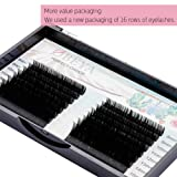 OBEYA Eyelash Extensions 0.10 C Curl Lash Extensions 8-15mm Mixed Tray, 16 Rows Faux Mink Individual Lashes, Eyelash Extension Supplies Semi-Permanent Eyelashes Application for Professional Salon Use (Tamaño: 0.10C)