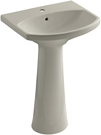 KOHLER K-2362-1-G9 Cimarron Pedestal Bathroom Sink with Single-Hole Faucet Drilling, Sandbar