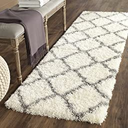 Safavieh Montreal Shag Collection SGM866B Ivory and Grey Runner, 2 feet 3 inches by 7 feet (2\'3\
