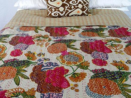 Lovely  Detail shop Designer Kanha Quilt Bedspread Summer Bedding Floral Quilt KingBeige