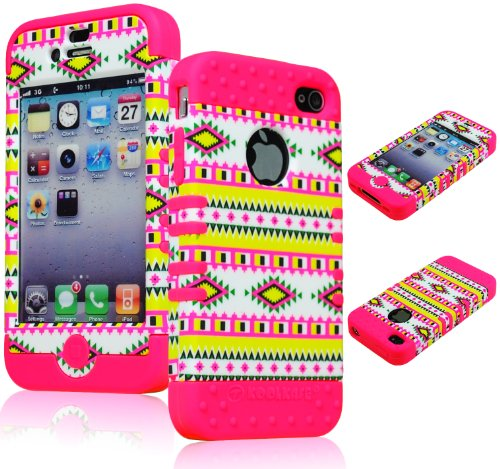 Bastexwireless Bastex Hybrid 2In1 Rocker Case For Apple Iphone 4, 4S - Hot Pink Silicone With Hard Colorful Neon Tribal Design front-462832
