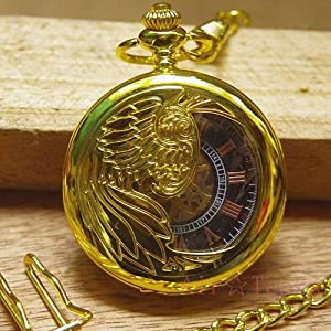 Gold pattern supracrustal pocket watch fashion black pocket watch nostalgic vintage male mechanical watch