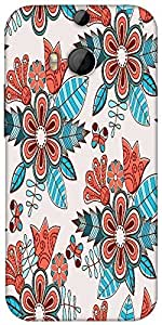 Snoogg Abstract Floral Background Designer Protective Back Case Cover For HTC M8
