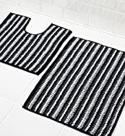 Chenille Striped Bath & Pedestal Mats