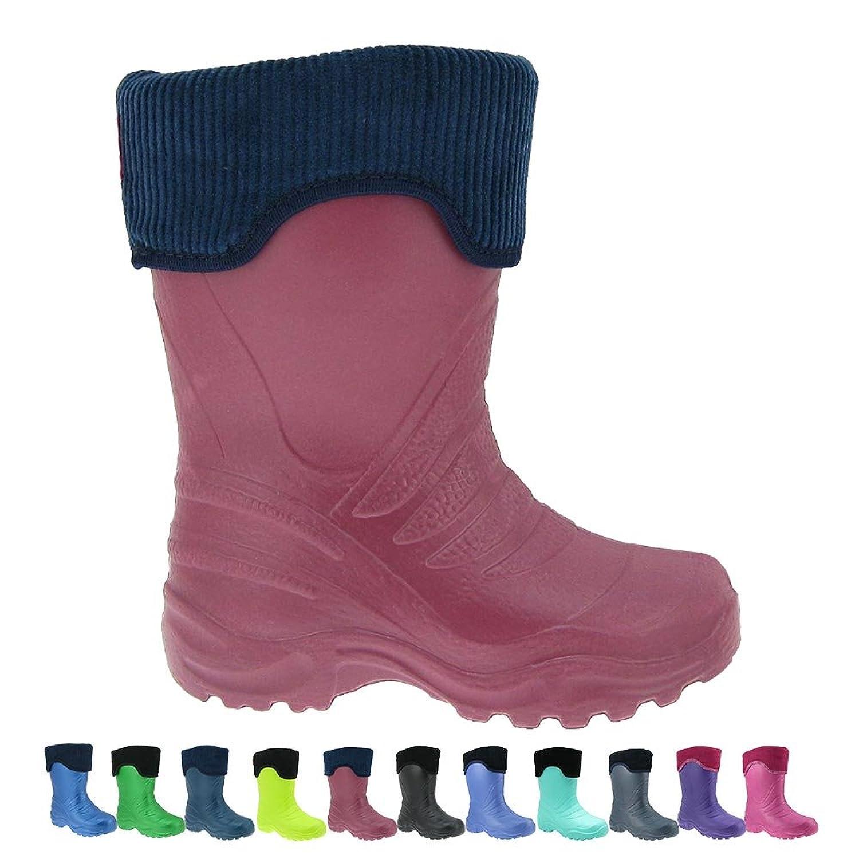 Superleichte EVA Kinder Regenstiefel Thermostiefel Gummistiefel mit Stiefelsocken für Mädchen und Jungen