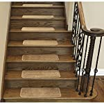 "Ottomanson Softy Stair Treads Solid Beige Camel Hair, Skid Resistant Rubber Backing Non Slip Carpet 9"" L x 26"" W, Stair Tread Mats, Set of 7"