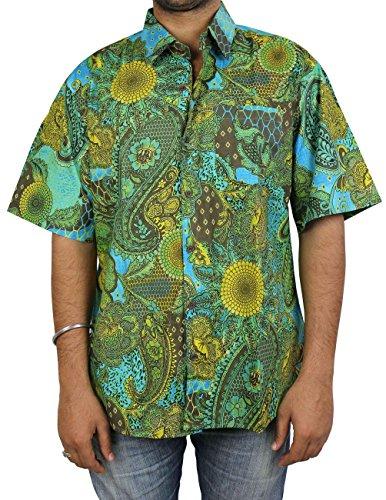 bf0c57b9fd ShalinIndia Men's Hawaiian Print Beach Button Down Shirt BSM01-2403  Multicoloured One Size