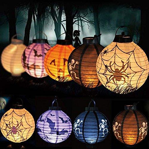 LED Paper Pumpkin Bat Spider Hanging Lantern Light Lamp Halloween Party Decor - Black (Friday The 13th Jason Teen Costume)