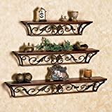 #9: Brown Iron, Wooden Wall Shelf (Set of - 3)