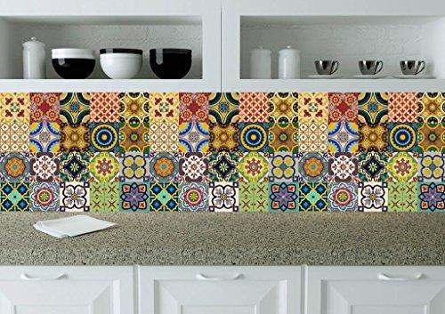 Backsplash stickers pour carrelage 24 pc de talavera - Carrelage autocollant cuisine ...