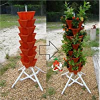 Vertical Gardening Tiered Tower - Indoor Outdoor Backyard PVC Plant Stands and Pots - Tall Standing Pot Plant Holder - Sturdy Stacking Pots Stand for Poincetta Herbs Strawberries Flowers Peppers and Vegetables