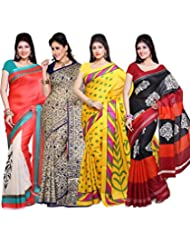 AISHA Printed Fashion Art Silk Multicolor Sari (Pack Of 4)