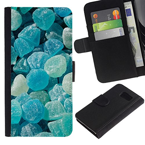 iBinBang / Flip Wallet Design Leather Case Cover - Crystal Meth Rocks Candy Blue Beach - Samsung Galaxy S6 SM-G920