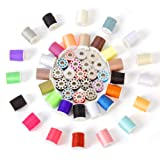 Sewing Thread Kit Set Household 60 Pcs Polyester All Purpose Multiple Colors Metal Spool Thread Kit for Mini Portable Sewing Machines and Hand Sewing  Handheld Travel (Color: 32+28 sewing thread, Tamaño: 10.2