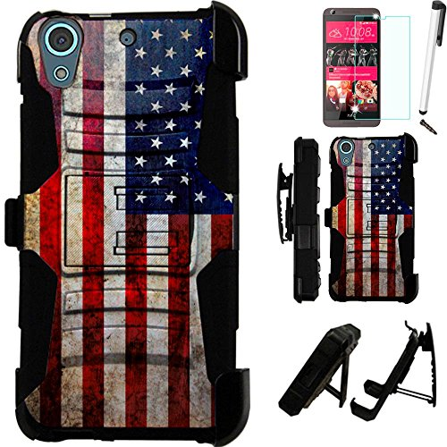 Click to buy For HTC Desire 625 (Cricket) Armor Hybrid Case Silicone Cover Kick Stand LuxGuard Holster+[WORLD ACC®] LCD Screen Protector+Stylus+Dust Cap (US Flag/Black) - From only $10.99