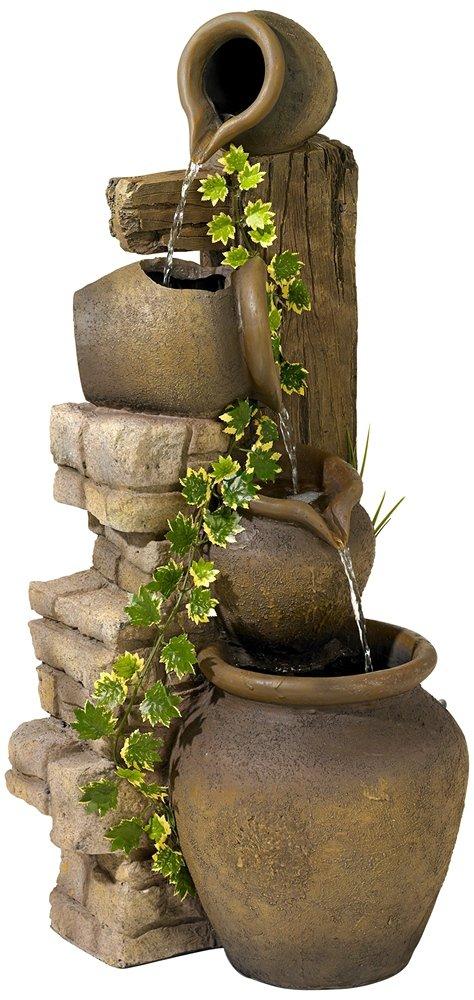 Three Rustic Jugs Cascading Fountain