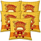 Best Festival Gifts Diwali Christmas New Year Set Of 5 Yellow Good Luck Classical Indian Truck Printed Polyester...