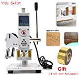 Upgraded Hot Foil Stamping Machine 5x7cm 110V Digital Embossing Machine Manual Tipper Stamper for PVC Leather PU Paper Logo Embossing 1.97