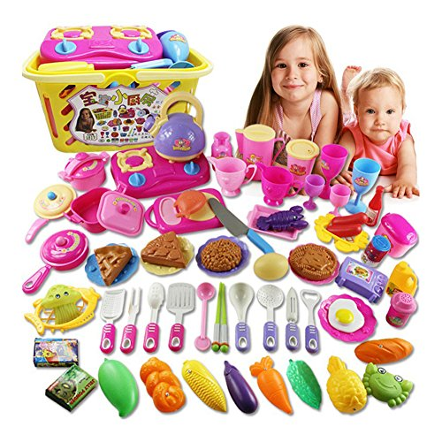 70-piece Kids Pretend Play Kitchen Toys set Utensils Pots Pans Cooking Food Dishes Cookware with Basket (Toy Dishes And Food compare prices)