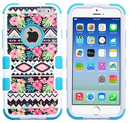 "Mylife Light Blue And White {Colorful Rose Flower Design} Neo Hybrid Armor Case For The New Iphone 6 (6G) 6Th Generation Phone By Apple, 4.7"" Screen Version (Two External Snap On Hard Protector Plates + Full Body Internal Soft Silicone Bumper Gel Protecti front-330959"