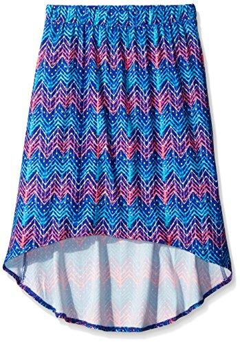 Derek Heart Big Girls All Over Print Hi-Low Elastic Waist Skirt, Blue, Large