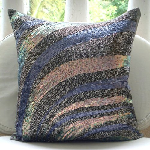 Wild Night - 26X26 Inches Euro Shams Covers - Silk Pillow Cover With Sequins & Beads front-808398